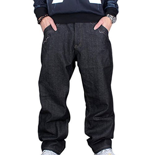 Dexinx uomo hip hop danza pantaloni squisiti classic vintage jeans urbano baggy denim nero 44