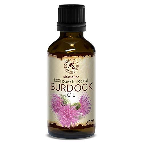 Klettenwurzelöl 50ml - Arctium Lappa Wurzel - 100% Rein & Natürlich - Klettenöl - Bestes Haaröl - Kuröl - große Vorteile für Haut - Haar - Körperpflege - Glasflasche - Burdock Oil