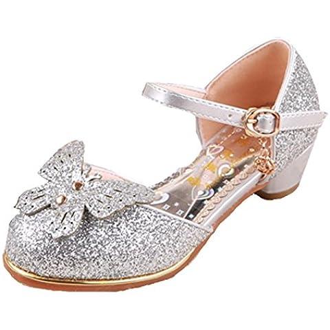 Ohmais Sandalias de Vestido Flat Shoes Bailarinas Princesa Zapatos con Tacón Para Niña