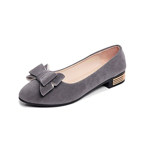 Damen Slipper Spitz Zehen Süß Schleife Modisch Bequem Nubukleder Flach Elegant Freizeit Schuhe Grau