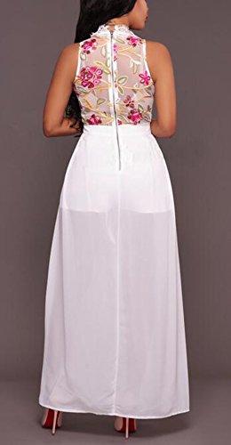 Arrowhunt Damen Elegant Lange Ärmellos Transparent Blumen Spitze Kleider  Partykleid Abendkleid Weiß