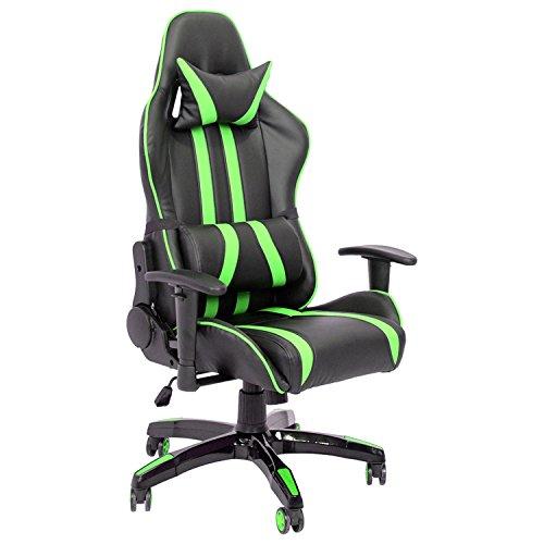 ISE silla de gaming silla de oficino, silla de escritorio ,Reposabrazos Reposacabezas Asiento y Respaldo Acolchados, verde