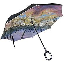 jstel doble capa puede Árbol Cielo Bosque Fox paraguas coches Reverse resistente al viento lluvia paraguas para coche al aire libre con asa en forma de C