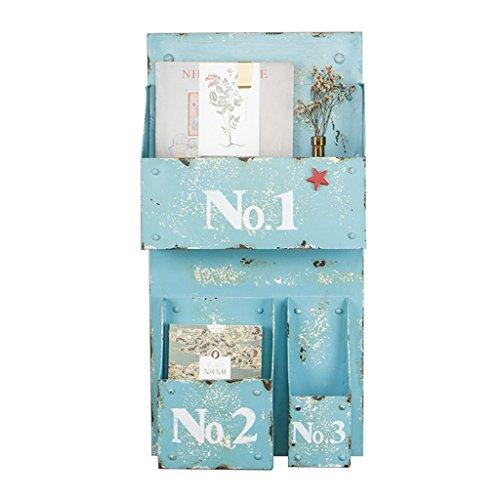 Shelf Rahmen Global American Retro Kreative Schmiedeeisen Wandbehang Zeitschriftenständer Nordic Hängende Regal Magazin Rack (Farbe : Blue) (Folding Magazine Rack)