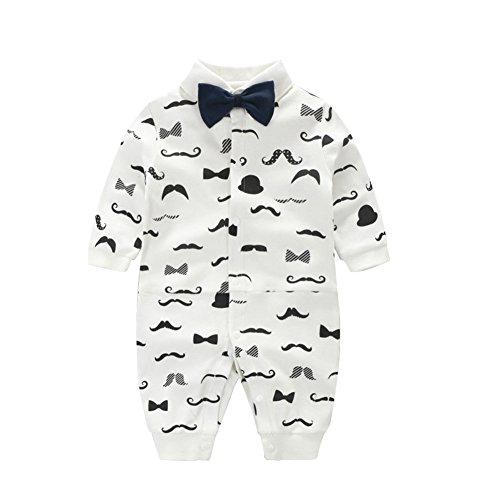 ausstattung kleidung langarm body junge strampler winter outfit einteiler, Weiß Schnurrbart, 0-3 Monate (Schnurrbart-baby)