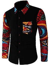 Doublehero Herren Slim Hemdn, Herbst Winter Mode Casual Patchwork Knöpfbar  Sweatshirt Gedruckt Bluse Shirt Langarmshirt 50b092719f