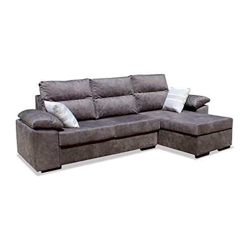 Muebles Baratos Sofa con Chaise Longue, 3 plazas, Subida A Domicilio, Color marrón, ref-107