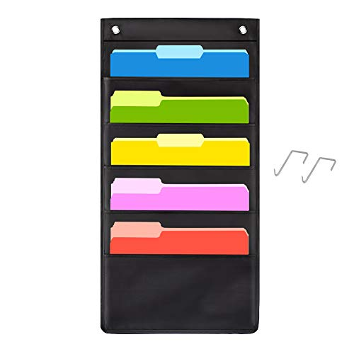 5Pocket Aufhängen Datei Ordner Organizer, Cascading Wand Organizer mit 3hangers-ideal für Zuhause Organisation, Schule Tasche Diagramm, Business Ordner und Papier Organizer 5 Pocket-1pack