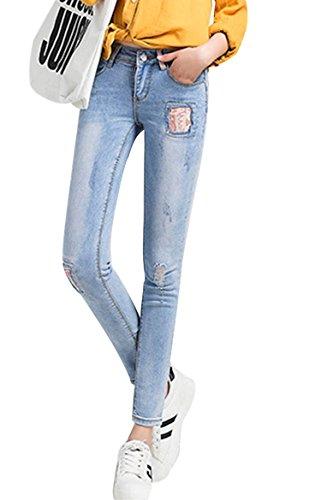 SaiDeng Donna Annata A Vita Alta Sottile Fit Toppa Distressed Washed Jeans Azzurro Chiaro 27