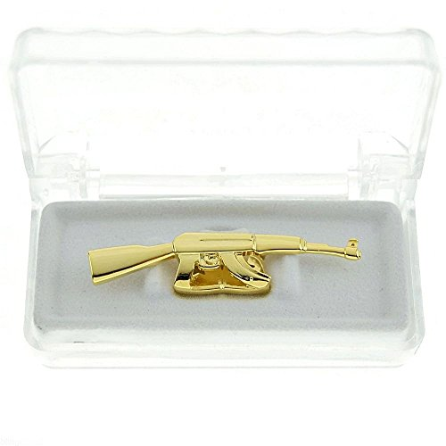 MCSAYS HIP HOP Gold Ton Gun AK Form entnehmbares Top Doppelter 47 Zähne Gap Grillz Moda (golden)