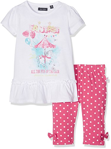 BLUE SEVEN Baby - Mädchen Bekleidungsset Mini Md SET: Tunika + Capri 915007 X, Gr. 74, Weiß (Weiss Orig 001) (Kinder Capri Set)