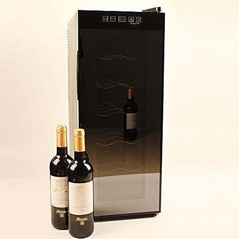 Jindowine Glass Door Wine Cooler Wine fridge, black (12 Bottle/35 Litres)