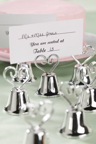Silver Bell Heart Shaped Place Card Holder and Favor - 12 pieces by Victoria Lynn