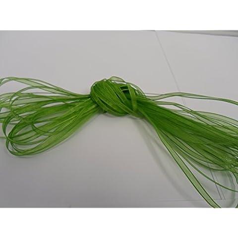 10 metros de cinta de organza 3 mm, hoja, verde brillante, de doble cara, favores de la boda, decoración, Pascua, Navidad, la