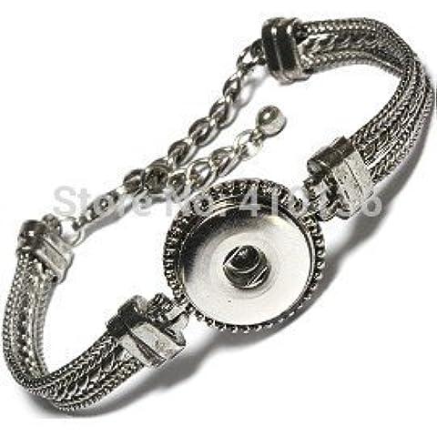 Argento Epyen (TM) Snap Bracelet & Bangles antico placcato il braccialetto dell'annata di alta qualit¨¤ fai da te bottoni a pressione dei singoli monili Snap