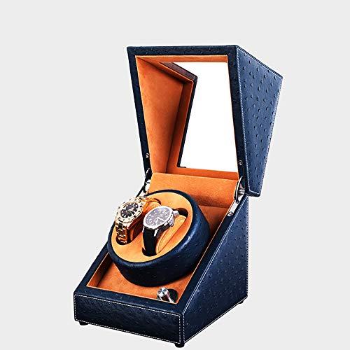 JulySeeYouz Automatische Uhrenbeweger, Elegante Automatik-mechanische Uhr-Kasten mit Quiet Motor 1 Uhr / 2 Uhren Rotation Lagerung Vitrine,For2watchesblue,USPlug