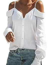 Modaworld Moda Camiseta de Manga Larga para Mujer Camisa de Blusa de Hombro Suelta