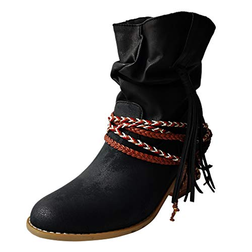 Damen Vintage Bandage Quaste StiefelettenRunde Spitze Slip-on Square Heels Stiefel Ärmel Quaste mit Stiefeletten