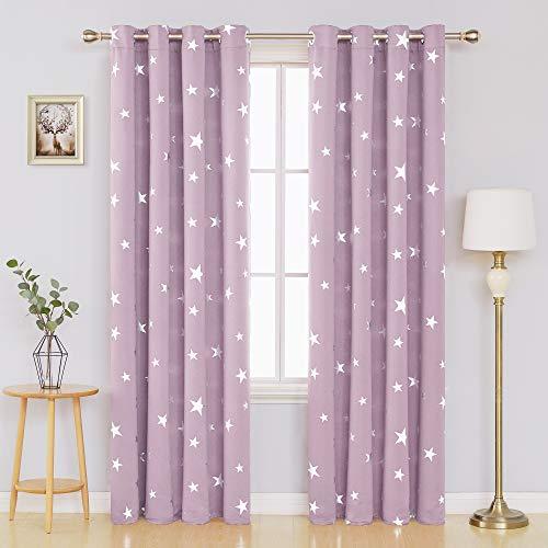 Deconovo tende oscuranti cameretta bambini con stelle termiche isolanti per casa moderna con occhielli 140x260cm rosa chiaro 2 pannelli