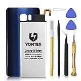 YONTEX Galaxy S6 Edge Akku mit Akkudeckel Ersatz Blau und Reparaturset mit Werkzeug, 2600mAh Ersatzakku 0 Zyklus Batterie für Samsung Galaxy S6 Edge(Blau)