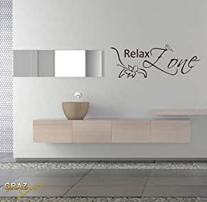 graz design wandtattoo wanddeko deko f r bad badezimmer schriftzug relax zone k che. Black Bedroom Furniture Sets. Home Design Ideas