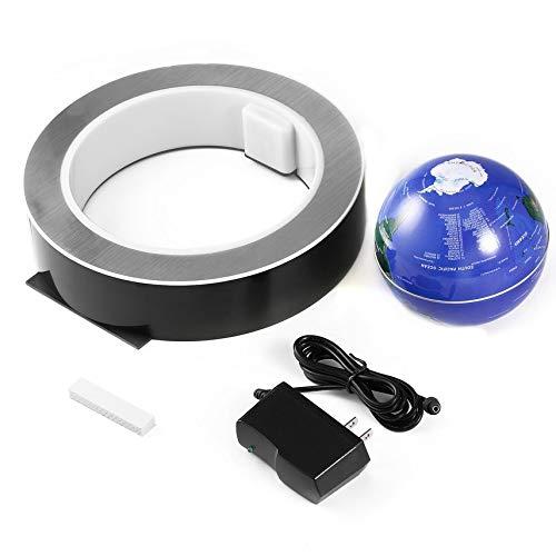 HibiscusElla 4 Inch LED World Map Novelty Magnetic Levitation Floating Globe LED Floating Tellurion with LED Light Home Office Ornament