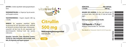 Vita World 3 Pack L-Citrulline 500mg 360 vegetarian capsules Citrulline Made in Germany 2000mg daily dose