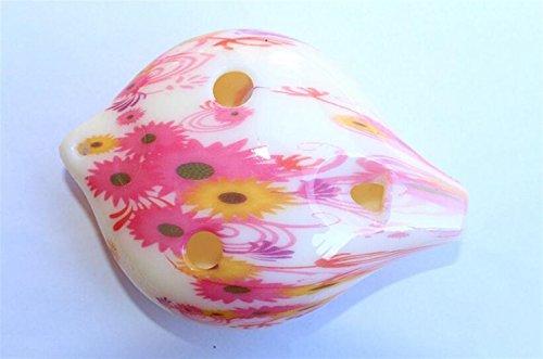 Luxury-uk Tolles Baby Spielzeug Geschenk 6 Loch Midrange C Kunststoff Ocarina senden Lanyard (Kleine rote Blume) für Geburtstag Weihnachtsfest