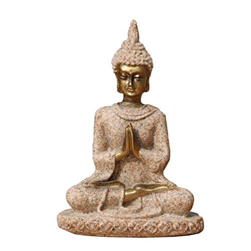 VORCOOL Buddha Figur sitzend klein Sandstein Feng Shui Buddhismus Statue Dekofigur für Auto Haus Verzierung