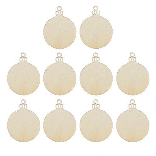 OULII Legno tondo Bagattella d'attaccatura dell'albero di natale decorazioni in bianco regalo etichetta forme, confezione da 10