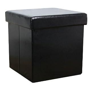 New Ottoman Foldaway Storage Blanket Toy Box Faux Leather Black 38x38cms