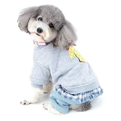 Ranphy Wintermantel für kleine Hunde und Katzen, mit Fleece-Futter, für den Winter, weich, mit Vier Beinen, gestreifte Hose, Winddicht, Chihuahua-Jacke, Mädchen mit Weihnachtsglocke -