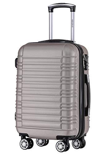 BEIBYE 2088 Zwillingsrollen Reisekoffer Koffer Trolleys Hartschale M-L-XL-Set (Champagner, L)