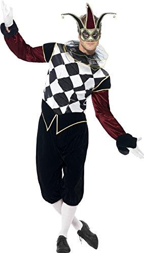 ic Venezianischer Harlekin Kostüm, Oberteil, Hose und Kragen, Größe: L, 43653 (Harlekin Kostüm Kostüme)