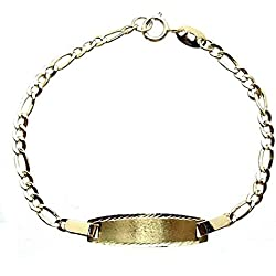 Esclava pulsera oro 9k bebé eslabón 3x1 hueca 13cm. [7199]