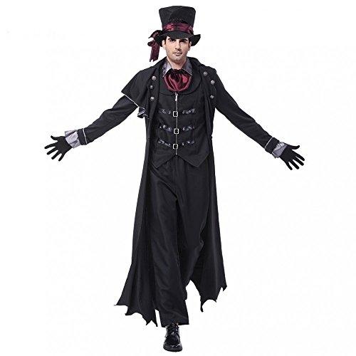 shoperama 7-teiliges Edel-Vampir Halloween Kostüm für Herren GRAF Dracula Jack The Ripper, Größe:L