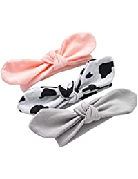 BIGBOBA Cute Baby Girls Turban Headbands Cotton Cloth Hair Wraps Hairbands Set for Toddler Kids Black