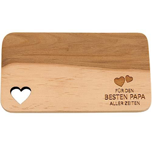 Spruchreif PREMIUM QUALITÄT 100% EMOTIONAL · Frühstücksbrettchen aus Holz mit Gravur · Brotbrett mit Herzausschnitt · Geschenk für Mama · Papa · Oma · Opa · Vatertag (Für den besten Papa)
