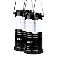 Novelty Place 2 Pack Portable LED Camping Lantern, [Heavy Duty & Waterproof] Outdoor Hiking Gear Lights - Ultra Bright Compact Size - Battery Powered Emergency Flashlight