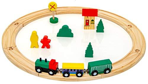 Eyepower 19 pièces Train en bois set jouet incl accessoires rails de guidage extensible