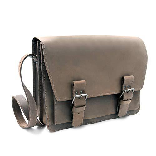 Made in Germany Umhängetasche - Messenger Bag Prague aus braunem old antik Leder inkl. BIO-Lederpflege von THIELMANN