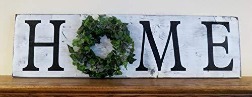 LynnYo22 Home with Ivy Wreath - Cartel de Madera para decoración de...