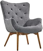 Home Canvas PACO Mid Century Chair [White] Fabric Armchair with Solid Wood Legs - Curved Back Tufted Chair |...