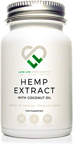 Extracto de cáñamo por LLS | 600 mg (6{22ff19035aab96ce7bf18aed03cfa14e1125bd86b09ec555e9de9cbdd586a832}) - 60 cápsulas (10 mg por cápsula) | Combinado con aceite de coco | Suplementos Love Life - \'Puro, efectivos, de alta calidad\'