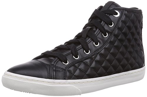 Geox D NEW CLUB A, Sneaker alta donna, Nero (Schwarz (BLACKC9999)), 39