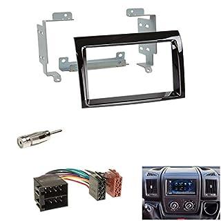 Set: Autoradio 2-DIN Radioblende Blende Piano schwarz + ISO Radioanschlusskabel Radio Adapter für Citroen Jumper (250*) FIAT Ducato (250*) Peugeot Boxer (250*) ab 04/06 *für Facelift Modelle ab 2011