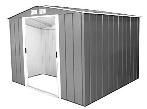 Duramax ECO 8′ x 8′ Hot-Dipped Galvanized Metal Garden Shed – Anthracite with Off-White Trimmings – 15 Years Warranty
