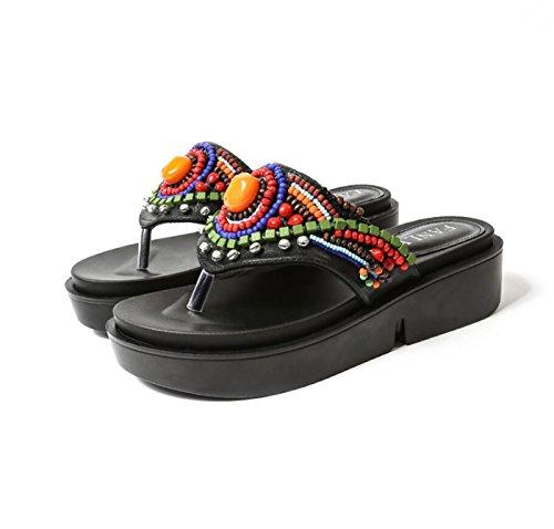 Sandali da donna infradito estivo fatti a mano perline infradito con zeppa pantofole con tacco scarpe etniche (colore : nero, dimensione : 37)