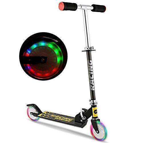 WeSkate Scooter Kinder Roller Tretroller Cityroller Kick Scooter klappbar mit LED Big Wheel Kugellager ABEC 7 für Mädchen Kinder ab 3 Jahre (B3/schwarz)