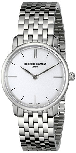 Frederique Constant Women's FC200S1S36B Slim Line Analog Display Swiss Quartz Silver Watch